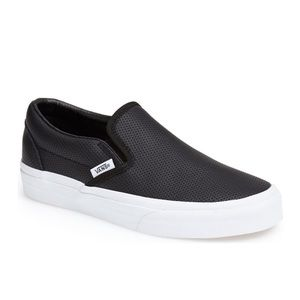 Vans perforated leather slip ons